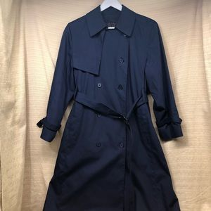 London Fog Navy Trench Coat PETITE Removable Liner